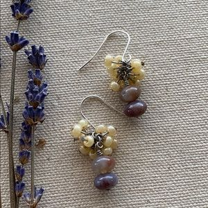 Bead and Stone Earrings.